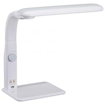 LED学習スタンド 調光 左右利き用 USBポート付 ホワイト [品番]06-1849