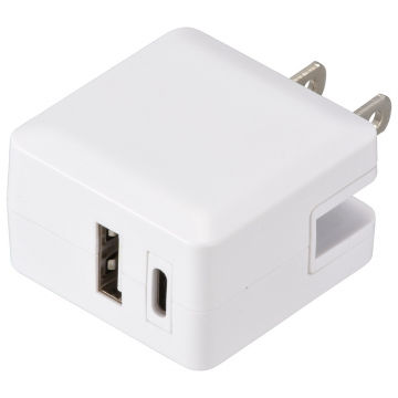 USB充電器 TypeC+TypeA PD高速充電 20W [品番]00-5192