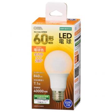 LED電球 E26 60形相当 電球色 [品番]06-4457