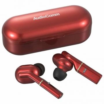 AudioComm 完全ワイヤレスイヤホン レッド [品番]03-0767