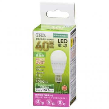 LED電球 小形 E17 40形相当 昼白色 [品番]06-4475
