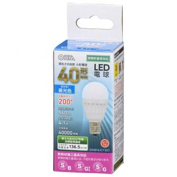LED電球 小形 E17 40形相当 昼光色 [品番]06-4476