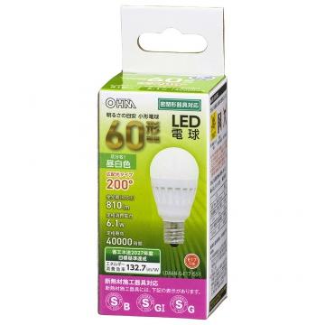 LED電球 小形 E17 60形相当 昼白色 [品番]06-4478