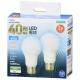 LED電球 E26 40形相当 昼光色 全方向 2個入 [品番]06-4706