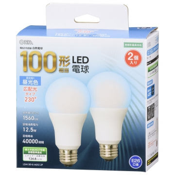 LED電球 E26 100形相当 昼光色 広配光 2個入 [品番]06-4712